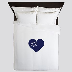 Blue Hart with Magen David Queen Duvet